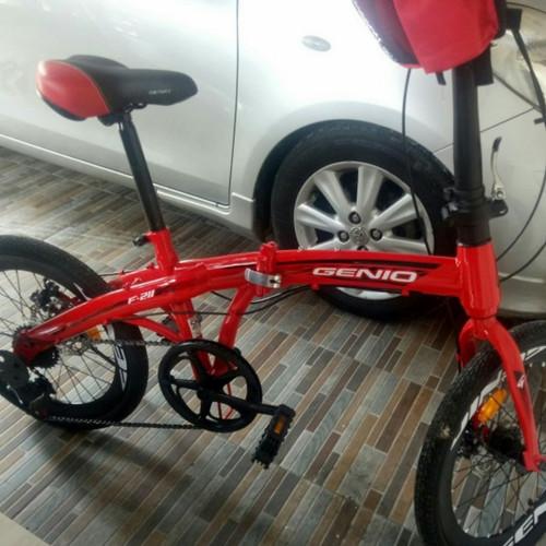 Foto Produk Sepeda Lipat 20 Inch GENIO F 211 Rem Cakram 7 Speed - Merah dari Sepeda Holic