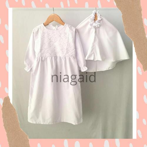 Foto Produk Gamis Pakaian Baju Dress Muslim Anak Perempuan Putih Brukat 1-6 tahun - size 3 dari niagaid