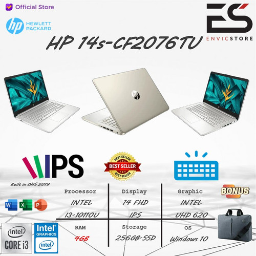 Foto Produk LAPTOP HP 14s i3 10110U 4GB 256GB-SSD WIN 10+OHS 2019 14 INCH-FHD IPS - GOLD dari EnVicStore