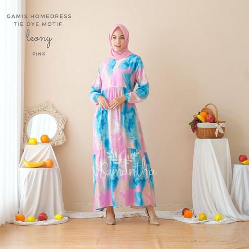 Foto Produk Gamis Homedress Rayon Motif Tie Dye Leony - Pink dari Beli Mukena