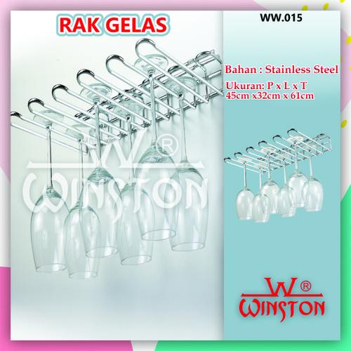 Foto Produk Rak Gelas Dinding Rak Wine Holder Gantung Stainless Winston WW 015 dari WINSTON SUKSES ABADI