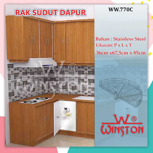 Foto Produk Rak Bumbu Dapur Sudut Putar 180 Derajat Stainless Winston WW 770 C dari WINSTON SUKSES ABADI