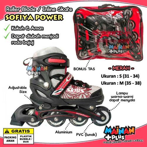 Foto Produk SEPATU RODA ANAK LAMPU ROLLER BLADE INLINE SKATE SOFIYA POWER BAJAJ - Merah, S dari MainanPlus