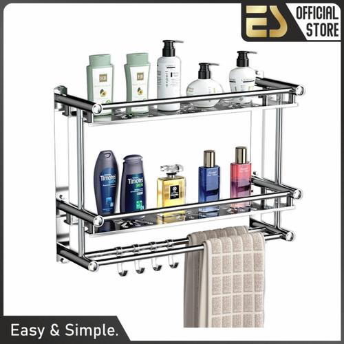 Foto Produk ES Rak kamar mandi rak handuk rak dinding stainless steel Rak Dapur dari ES Official Store