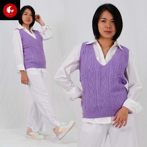 Foto Produk Okechuku SIDO CABLE Vest Rajut Wanita Knit Outer Fashion Wanita Korea - Lilac dari Okechuku