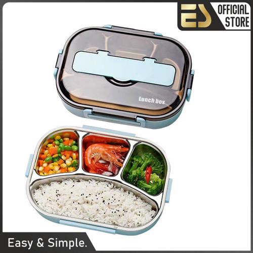 Foto Produk ES Kotak Tempat Makan Siang Stainless Dewasa Anak Lunch Box - Merah Muda, 3 Sekat dari ES Official Store