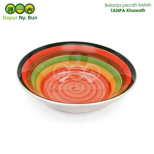 Foto Produk Mangkok Salad Bulat Motif PELANGI Ukuran 7 Inch / Salad Bowl dari Dapur Ny.Bun