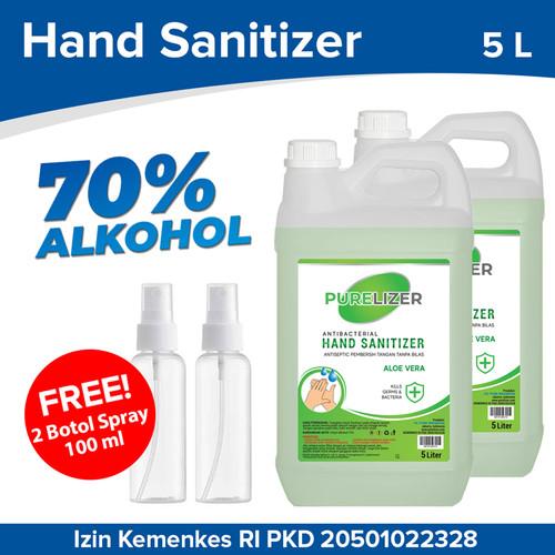 Foto Produk Hand Sanitizer Cair 10 Liter PURELIZER Refill Handsanitizer 5L x2 pcs dari Purelizer