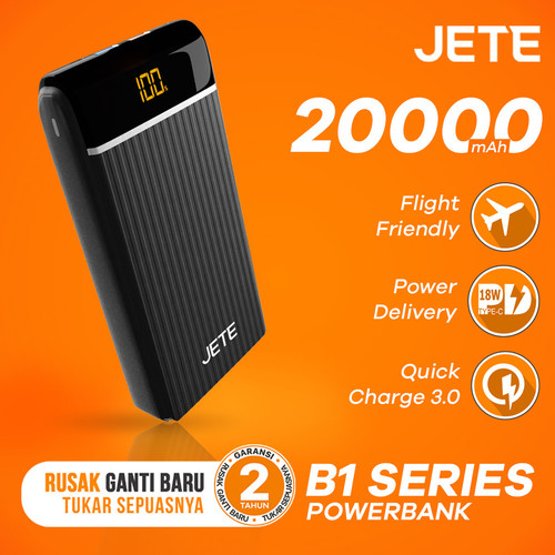 Foto Produk Powerbank JETE B1 20000 mAh Quick Charge 3.0 and Power Delivery - Hitam dari JETE Official Surabaya