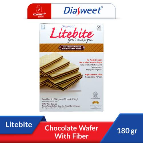 Foto Produk DIASWEET LITEBITE Wafer Coklat Bebas Gula Kaya Serat Dos 180gr Sehat dari Konimex Store