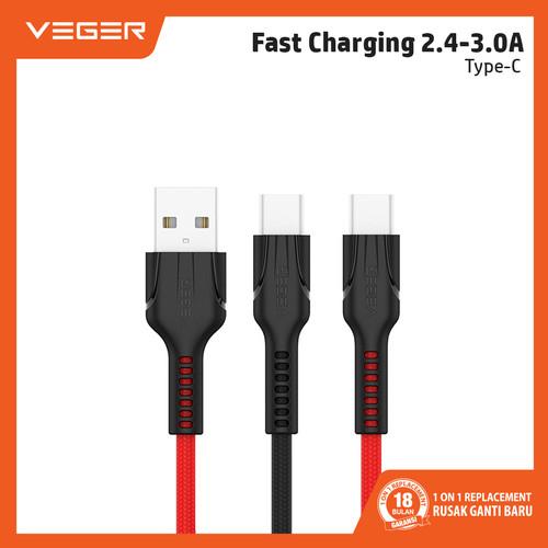 Foto Produk VEGER Durable Kabel Data Cable Type C VP-14 1000mm Fast Charging - Merah dari Veger