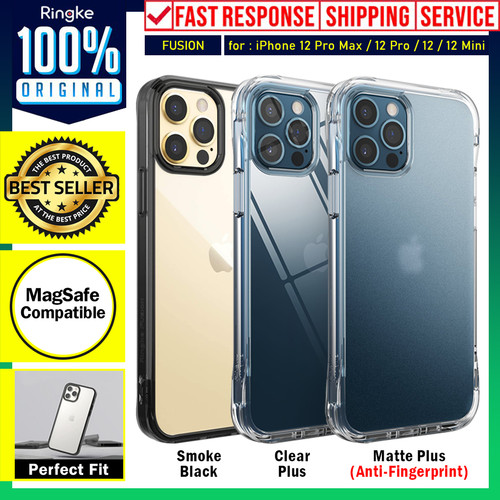 Foto Produk Case iPhone 12 Pro Max 12 Pro 12 Mini Ringke Fusion Anti Crack Casing - 12 Mini, Smoke Black dari Unicase Store
