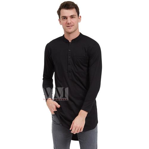 Foto Produk VM Baju Koko JUMBO Gamis Kaos Big Size Polos Panjang - Hitam, 3XL dari VM VanMarvell