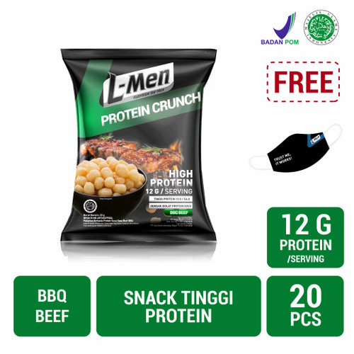 Foto Produk L-Men Protein Crunch BBQ Beef 20gr (1 Carton / 20 Pcs) dari NutriMart