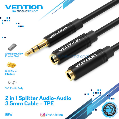 Foto Produk Vention [BBB] Kabel Aux Audio Splitter 3.5mm Male to 2 Female - BBS Black ABS dari VENTION by SinsheTekno