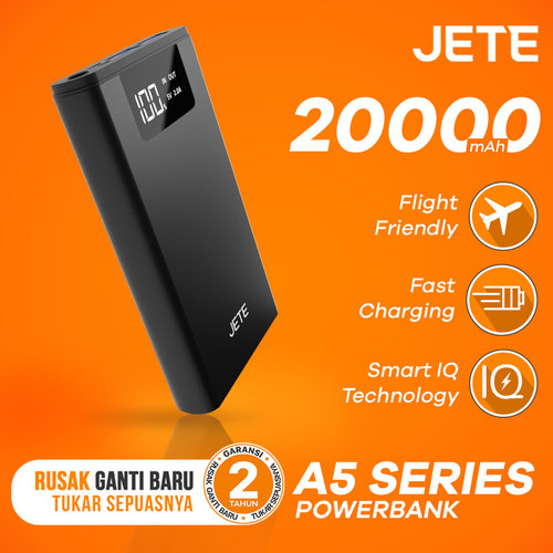 Foto Produk Powerbank JETE SITIZ 20000 mAh Fast Charging Garansi 25 Bulan - Hitam dari JETE Official Surabaya