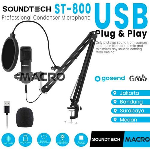 Foto Produk SOUNDTECH Microphone Condenser For Recording Streaming Podcast dari MACRO