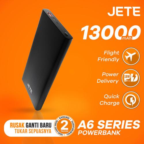 Foto Produk Powerbank JETE A6 13000 mAh Power Delivery & QC 3.0 Garansi 25 Bulan - Hitam dari JETE Official Surabaya