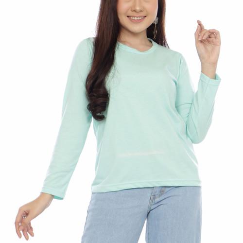 Foto Produk Kaos polos wanita leher bulat tangan panjang - navy, S dari Kerry Onlineshop