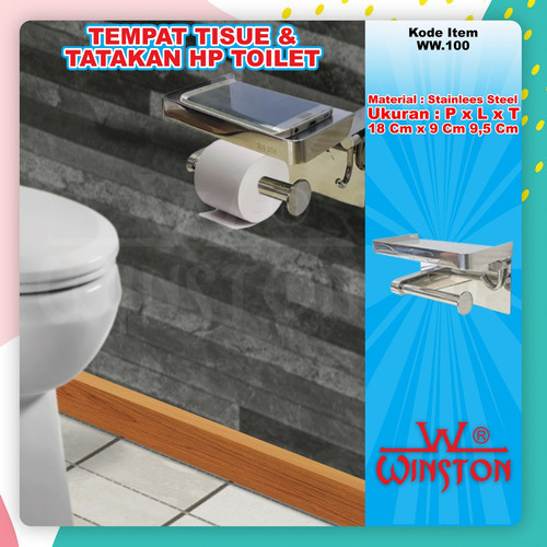 Foto Produk Rak Paper Holder/Tissue Toilet/Hp/Handuk Kecil Stainless 304 Winston dari WINSTON SUKSES ABADI