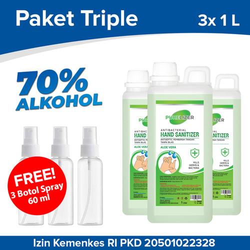 Foto Produk Hand Sanitizer Cair 3 Liter PURELIZER Refill Handsanitizer 1L x3 pcs dari Purelizer