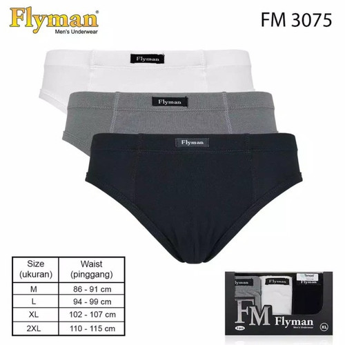 Foto Produk Flyman Celana Dalam Katun Modal Pria 3 PCS FM 3075 - M dari Sempak Keluarga