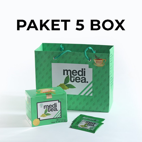 Foto Produk Paket 5 Box Meditea Teh Hijau antikanker antioksidan dan autoimun dari Mediteaid
