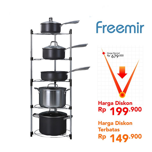Foto Produk Freemir rak panci wajan peralatan masak kitchen rack multifungsi - 5 Susun dari freemir Official Store