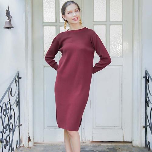 Foto Produk London Knit Dress Beatrice Clothing - Mini Dress Wanita - Maroon dari Beatrice Clothing