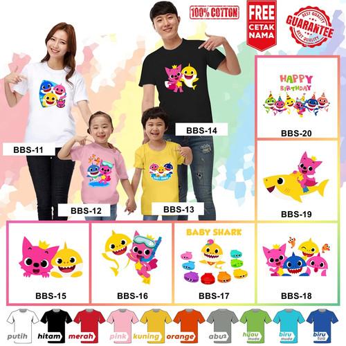 Foto Produk Kaos / Baju BABY SHARK ANAK BANYAK MOTIF (FREE NAMA / TULISAN) - Kaos Putih, Size 0 (6-12bln dari KaosEry