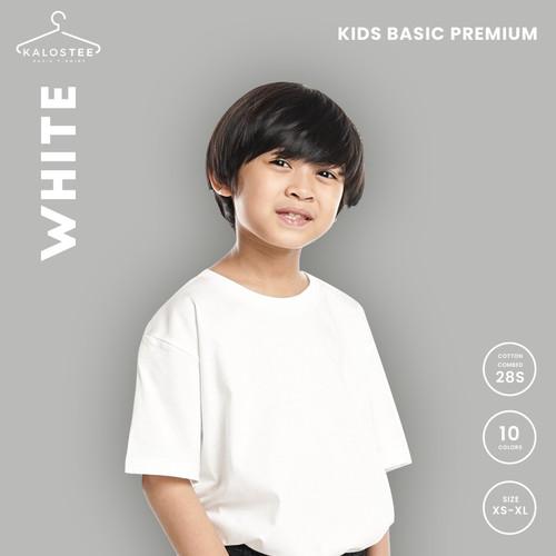 Foto Produk Kaos Polos KALOSTEE Premium Basic 28s 100% Cotton Anak - White - XS dari Kalostee ID