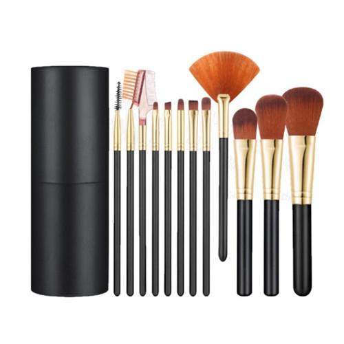 Foto Produk Semua Gratis - Alat Make Up 12 Kuas / Make Up Tools / Brush / Kosmetik - Hitam Gold dari Semua Gratis