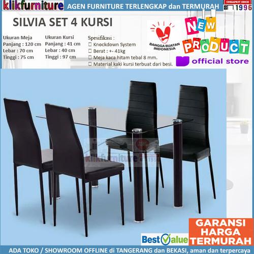 Foto Produk SET Meja Makan 4 Kursi Minimalis Kaca SILVIA dari klikfurniture