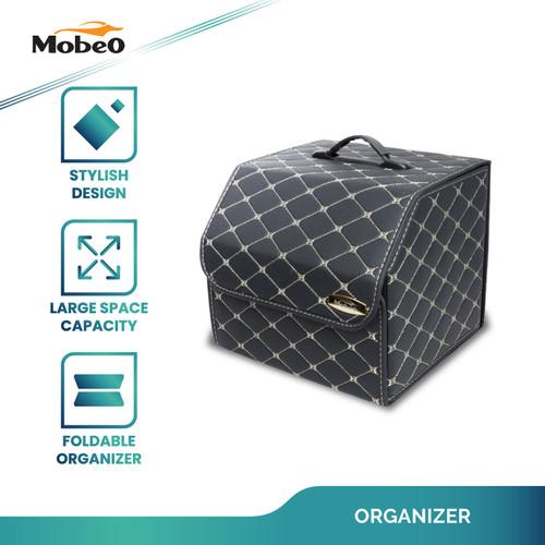 Foto Produk Mobeo Organizer Bagasi Mobil Lipat Bahan Kulit Synthetic Leather - Hitam-Putih, 30x30x30cm dari Mobeo Official Store