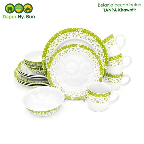 Foto Produk Dinner Set Isi 16pcs Motif Polkadot Fleur / Perangkat Makan Keramik dari Dapur Ny.Bun