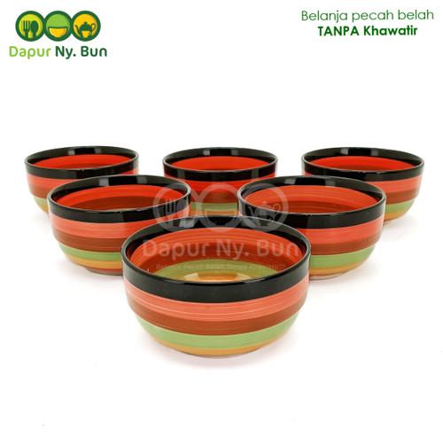 Foto Produk 6Pcs Mangkok Nasi Kecil Bulat Motif PELANGI Ukuran 4,5 Inch dari Dapur Ny.Bun