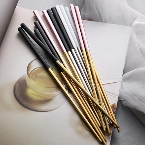 Foto Produk Sumpit - Korean Style Chopstick - Premium stainless steel - Pink Gold dari gratohome
