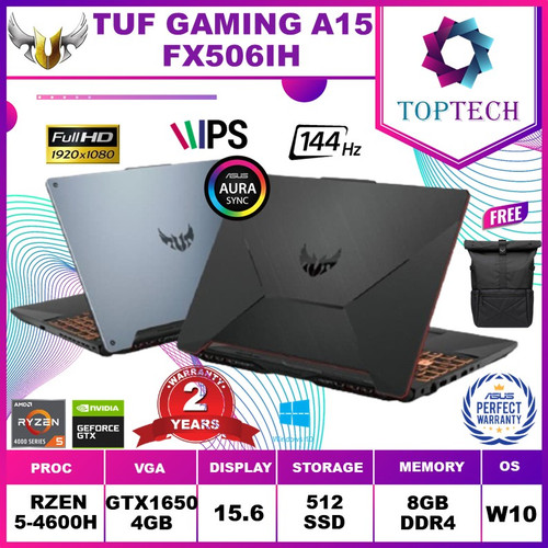 Foto Produk ASUS TUF GAMING A15 FX506IH 144Hz Ryzen 5 4600H GTX1650 4GB W10 - Abu-abu dari Top Tech