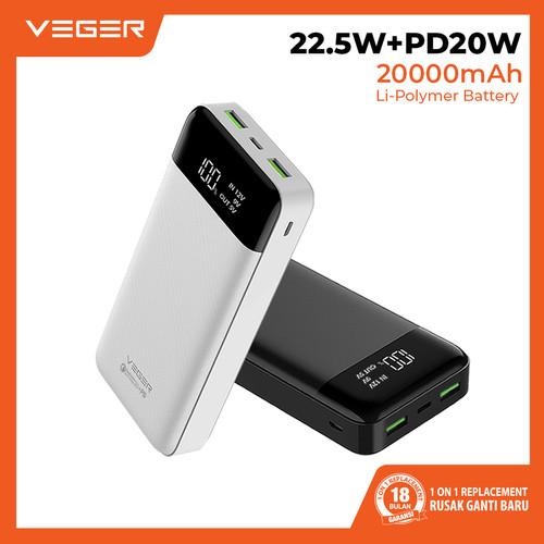 Foto Produk VEGER Q21 20000mAh Digital Display PowerBank Quick Charge QC 3.0 + PD - Putih dari Veger
