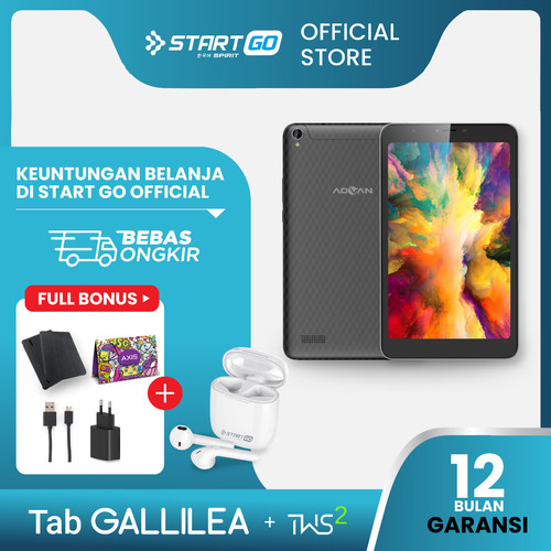 "Foto Produk Advan Tablet Gallilea 8.0"" 3/16 GB Garansi Resmi + StartGo TWS 2 dari StartGo Official Store"