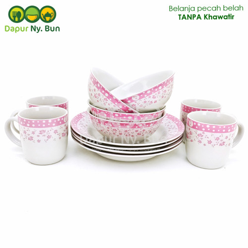 Foto Produk Dinner Set Isi 12pcs Motif Polkadot Fleur / Perlengkapan Makan dari Dapur Ny.Bun