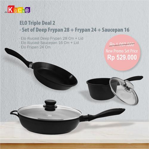 Foto Produk ELO Triple Deal 2 - Set of Deep Frypan 28 + Frypan 24 + Saucepan 16 dari Diekuche Fackelmann
