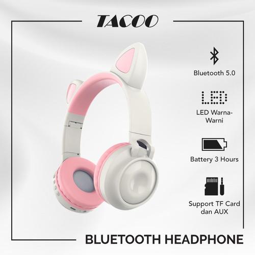 Foto Produk TACOO Bluetooth Headphone On-Ear Gaming Kucing Wireless LED 7 Warna dari TACOO Official Store