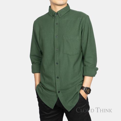 Foto Produk Kemeja Pria Lengan Panjang Original Brand Cloud Think Cotton Pique - Hijau, XL dari Kurnia Olstore