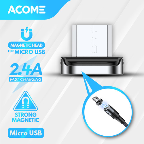 Foto Produk Acome Kabel Data Strong Magnet Fast Charging 2.4 A 100cm Garansi 1 Thn - Micro USB Head dari Acome Indonesia
