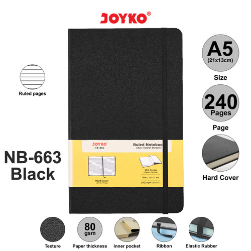 Foto Produk Ruled Notebook Diary Agenda Buku Catatan Bergaris Joyko NB-663 240 hal - Black dari JOYKO Official