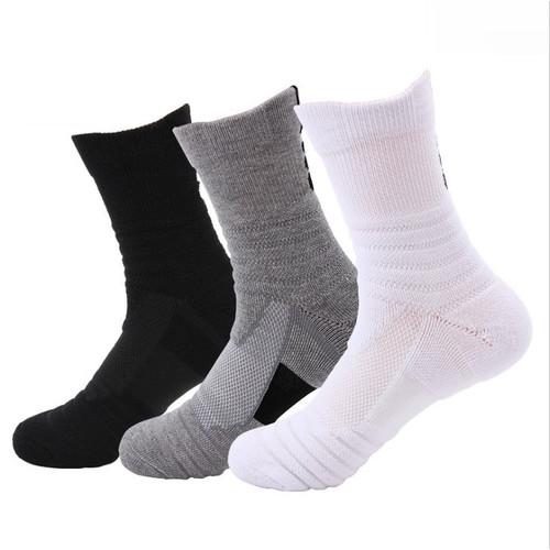 Foto Produk Kaos Kaki Panjang Olahraga Basket Fitness Gym Sports Socks Tebal - Hitam dari Anugerah Sukses Sejati