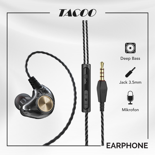 Foto Produk TACOO In-Ear Earphone Earbuds Hi-Fi Deep Bass Braided Cable with Mic dari TACOO Official Store