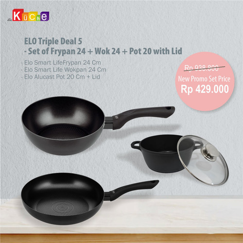 Foto Produk ELO Triple Deal 5 - Set of Frypan 24 + Wok 24 + Pot 20 with Lid dari Diekuche Fackelmann