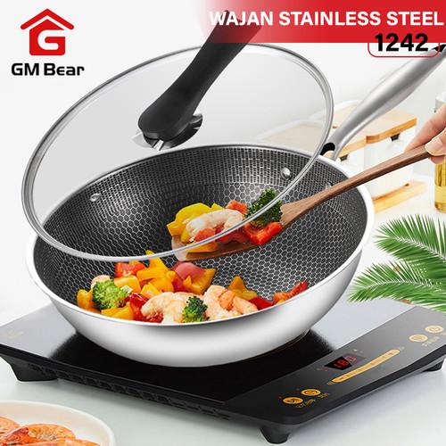 Foto Produk GM Bear Wajan Penggorengan Stainless Steel 1242-Fry Pan Stainless dari GM Bear